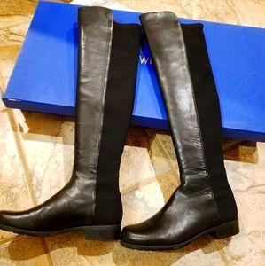 Stuart Weitzman Leather 5050 Boot Black sz 7